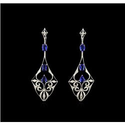 4.85ctw Blue Sapphire and Diamond Dangle Earrings  - 18KT White Gold