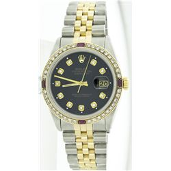 Rolex Two-Tone 1.00ctw Diamond and Ruby DateJust Men's Watch