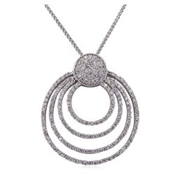 14KT White Gold 0.90ctw Diamond Pendant With Chain