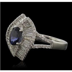 14KT White Gold 1.01ct Sapphire and Diamond Ring