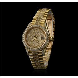 Rolex President 18KT Gold 2.50ctw Diamond DateJust Ladies Watch