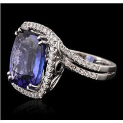 18KT White Gold GIA Certified 10.65ct Tanzanite and Diamond Ring