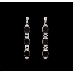 Crayola 21.00ctw Garnet and White Sapphire Earrings - .925 Silver