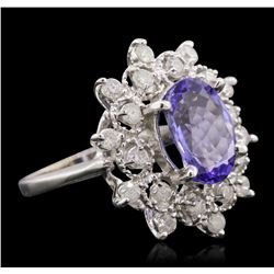 14KT White Gold 3.07ct Tanzanite and Diamond Ring