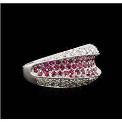 0.50ctw Ruby and Diamond Ring - 14KT White Gold