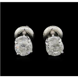 1.47ctw Diamond Solitaire Earrings - 14KT White Gold