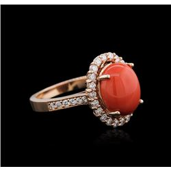 14KT Rose Gold 4.38ct Coral and Diamond Ring