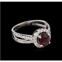 GIA Certified 1.48ct Ruby and Diamond Ring - 18KT White Gold