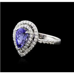 18KT White Gold 1.15ct Tanzanite and Diamond Ring