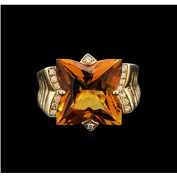 7.20ct Citrine and Diamond Ring - 14KT Yellow Gold