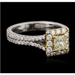 18KT Two-Tone Gold 0.83ctw Fancy Yellow Diamond Ring
