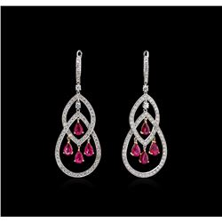 4.12ctw Ruby and Diamond Earrings - 18KT Two-Tone Gold