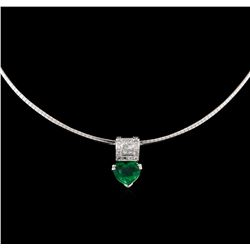 3.02ct Emerald and Diamond Pendant - 18KT White Gold