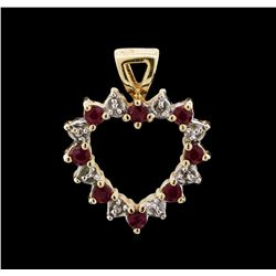 Blue Topaz, Garnet and Diamond Pendant - 14KT Yellow Gold