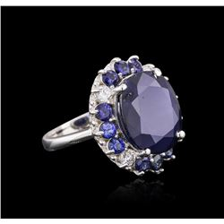 14KT White Gold 15.52ctw Sapphire and Diamond Ring
