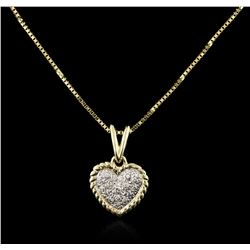 14KT Yellow Gold 0.10ctw Diamond Heart Pendant With Chain