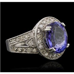 14KT White Gold 5.21ct Tanzanite and Diamond Ring