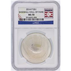 2014 Baseball HOF NGC Graded MS70 $1 Silver Coin Hall of Fame