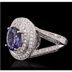 14KT White Gold 2.46ct Tanzanite and Diamond Ring