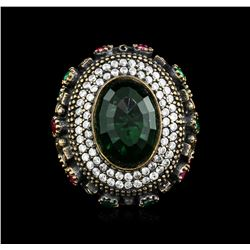 16.22ct Green Crystal and Multi Gemstone Ring - 925 SILVER