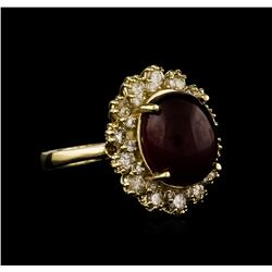 14KT Yellow Gold 7.61ct Ruby and Diamond Ring