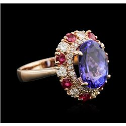 4.27ct Tanzanite, Ruby and Diamond Ring - 14KT Rose Gold
