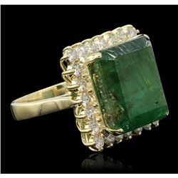 14KT Yellow Gold 15.19ct Emerald and Diamond Ring