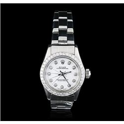 Rolex Stainless Steel Diamond Oyster Perpetual Ladies Watch