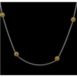 James Kurk 0.12ctw Black Diamond Necklace - 14KT Two-Tone Gold