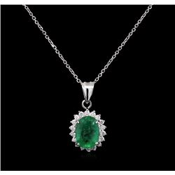2.95ct Emerald and Diamond Pendant With Chain - 14KT White Gold