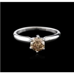 14KT White Gold 0.80ct Round Cut Fancy Brown Diamond Solitaire Ring
