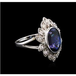 4.50ct Tanzanite and Diamond Ring - 14KT White Gold