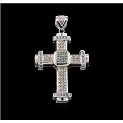 10KT White Gold 1.94ctw Diamond Cross Pendant
