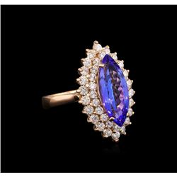 3.40ct Tanzanite and Diamond Ring - 14KT Rose Gold