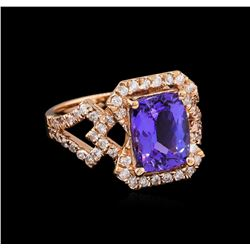 3.17ct Tanzanite and Diamond Ring - 14KT Rose Gold
