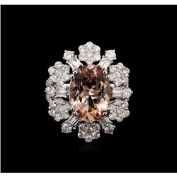 5.15ct Morganite and Diamond Ring - 18KT White Gold
