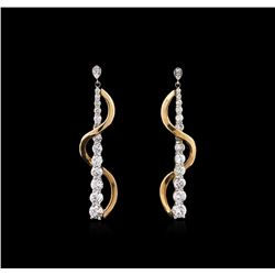 2.50ctw Diamond Dangle Earrings - 14KT Two-Tone Gold