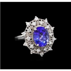 4.75ct Tanzanite and Diamond Ring - 14KT White Gold