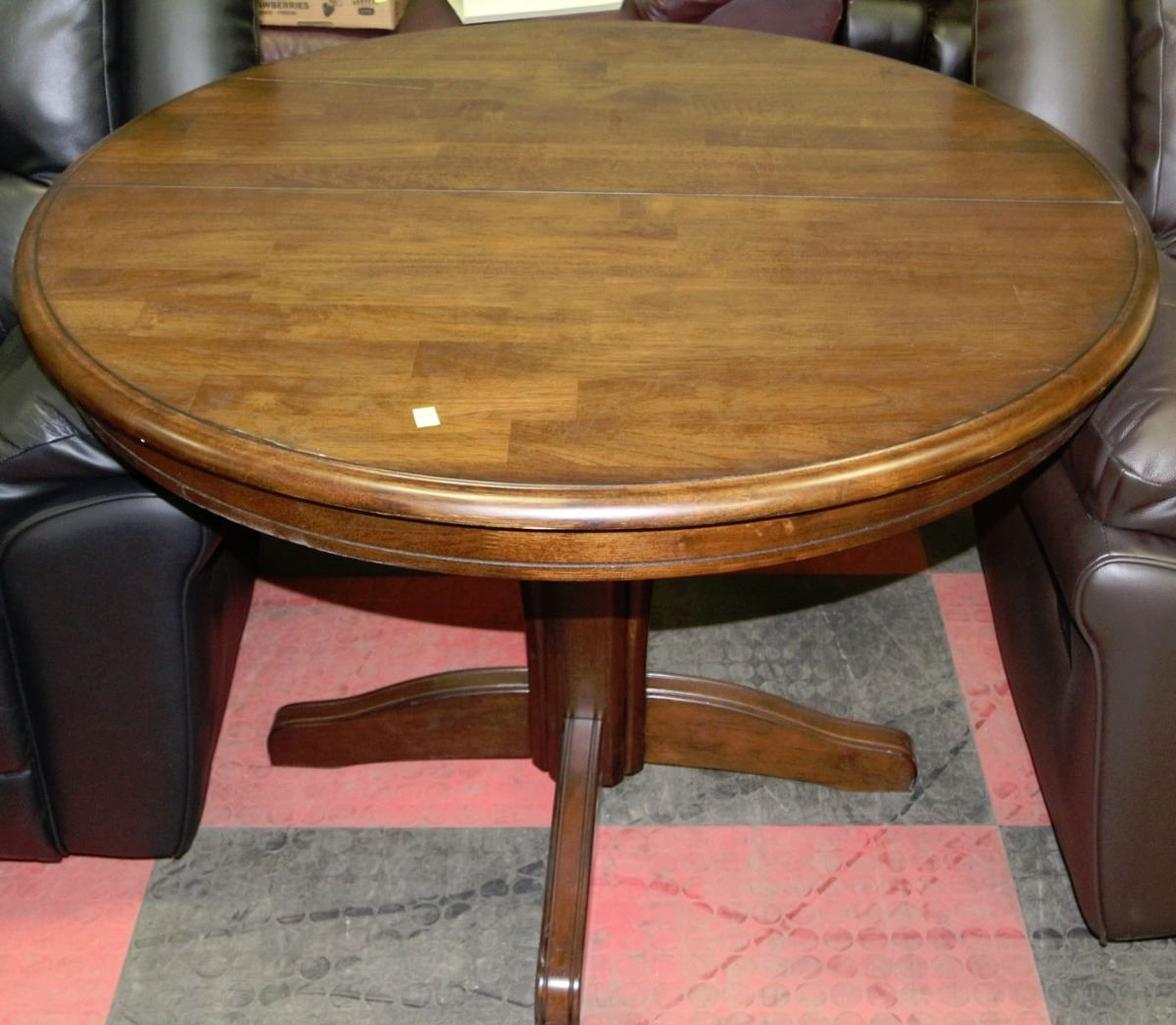 Round wood pedestal table with butterfly leaf kastner for Round wood table with leaf