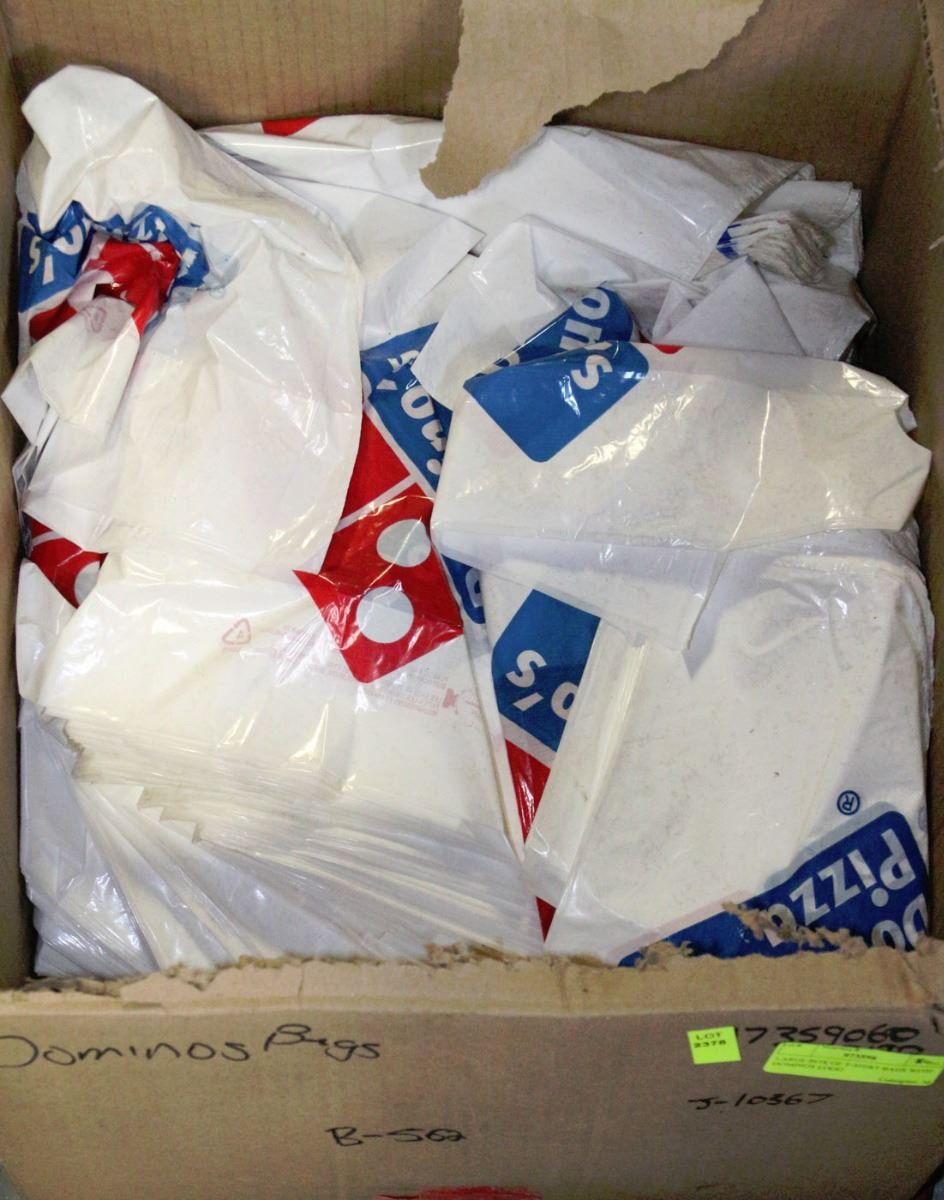 Large Box Of T Shirt Bags With Dominos Logo