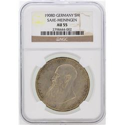1908-D Germany 5M Saxe-Meiningen Coin NGC Graded AU55