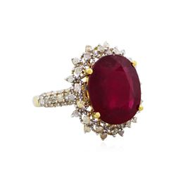 14KT Yellow Gold 8.42ct Ruby and Diamond Ring