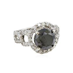 14KT White Gold 6.34ctw Fancy Black Diamond Ring