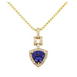 14KT Yellow Gold 3.92ct Tanzanite and Diamond Pendant With Chain