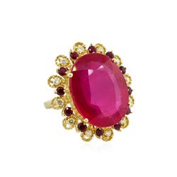 14KT Yellow Gold 27.59ctw Ruby and Diamond Ring