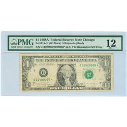 1988A $1 ERROR Mismatched Serial Number FRN STAR Note PMG 12