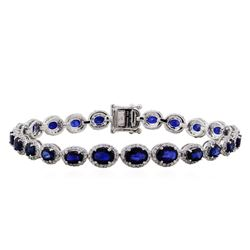 14KT White Gold 11.22ctw Sapphire and Diamond Bracelet