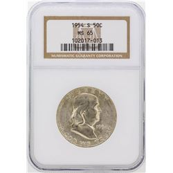 1954-S Franklin Half Dollar Coin NGC Graded MS65