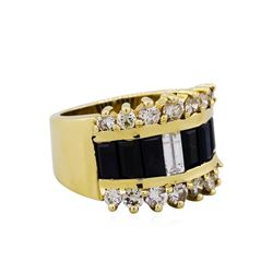 14KT Yellow Gold 1.80ctw Sapphire and Diamond Ring
