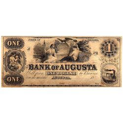 1800s $1 State of Georgia Bank of Agusta Obsolete Currency Note